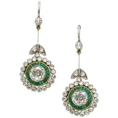 Emerald Diamond Gold Cluster Drop Earrings