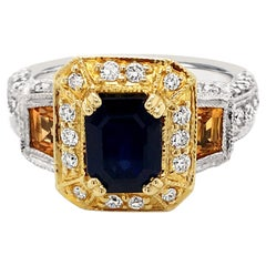 LeVian 14K Two Tone Gold Yellow & Blue Sapphire Round Diamond Halo Cocktail Ring