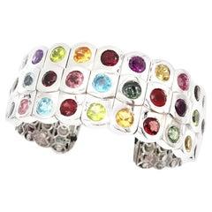 3-Row Multicolour Semi-Precious Gemstone 18 Karat White Gold Open Bangle Cuff