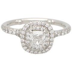 Vintage Tiffany & Co. Soleste Cushion Cut Diamond Halo Ring Set in Platinum