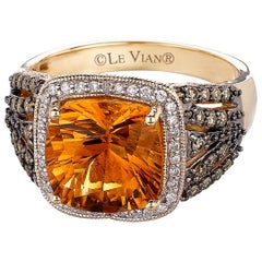 New LeVian Ring Citrine Vanilla Diamonds Chocolate Diamonds 14K Honey Gold