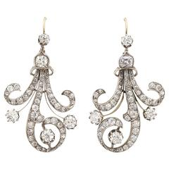 Antique Diamond Silver Gold Earrings