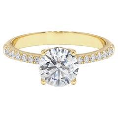 1.41 Carat Diamond Solitaire Engagement Ring in 14K Yellow Gold, Shlomit Rogel