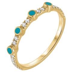 0.11 Carat Pave Diamond Turquoise Enamel Ring in 14K Yellow Gold, Shlomit Rogel