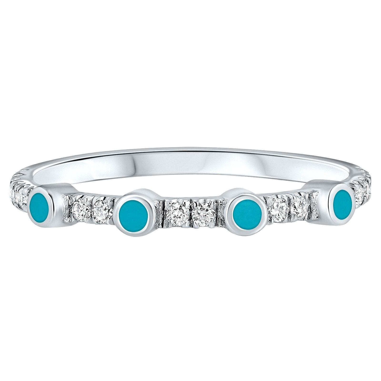 Pave Diamond Turquoise Enamel Stacking Ring in 14K White Gold, Shlomit Rogel