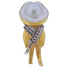 Gold Pearl Diamond Ruby Sapphire Sombrero Brooch