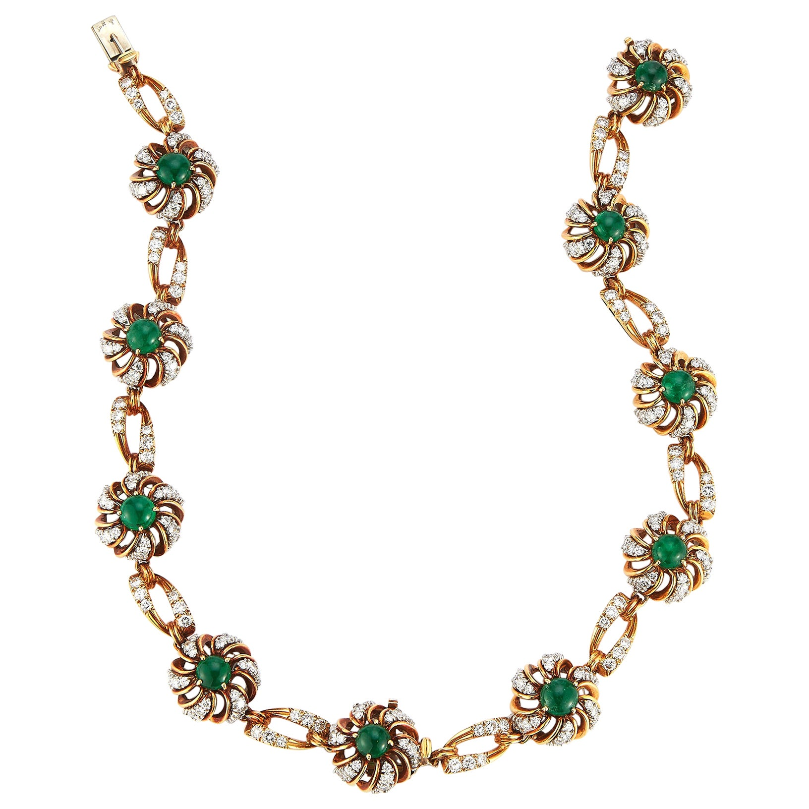Cabochon Emerald & Diamond Flower Necklace