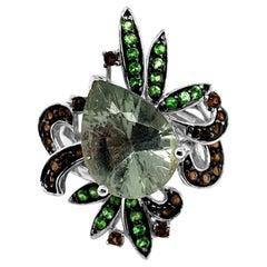 LeVian Ring Mint Quartz Chocolate Quartz Forest Green Tsavorite 14K White Gold