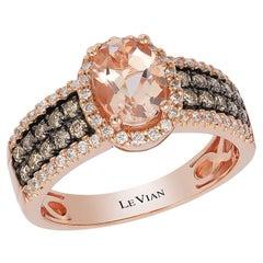 Le Vian 14K Rose Gold Halo Ring Morganite White Diamond Chocolate Diamond LeVian