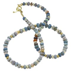 Barbara Heinrich Faceted Australian and Ethiopian Opal Rondel Gold Necklace