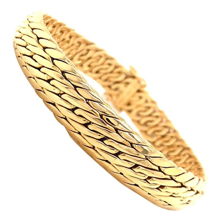 Vintage Germany Tiffany & Co. 18K Gold Woven Bracelet
