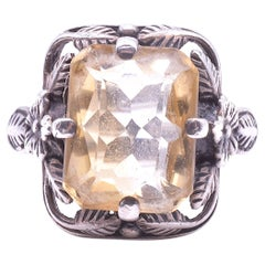 C.1910 Sterling Citrine Arts and Crafts Ring