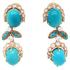 Van Cleef France Turquoise Diamond Day & Night 18k Yellow Gold Earrings