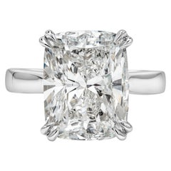 GIA Certified 7.76 Carat Cushion Cut Diamond Solitaire Engagement Ring