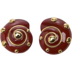 Verdura Carnelian Gold Shell Earrings