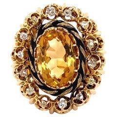 5 Carat Citrine and Diamond Victorian Gold Cocktail Ring Estate Fine Jewelry