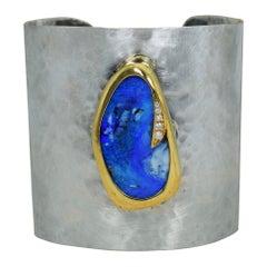 Australian Boulder Opal & Diamond 18k Gold and Sterling Silver Cuff Bracelet