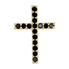 18K Yellow Gold Black Diamond Cross Pendant