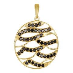 18K Yellow Gold Black Diamond Pendant