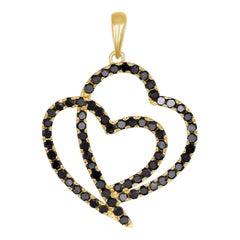 18K Yellow Gold Black Diamond Double Heart Pendant