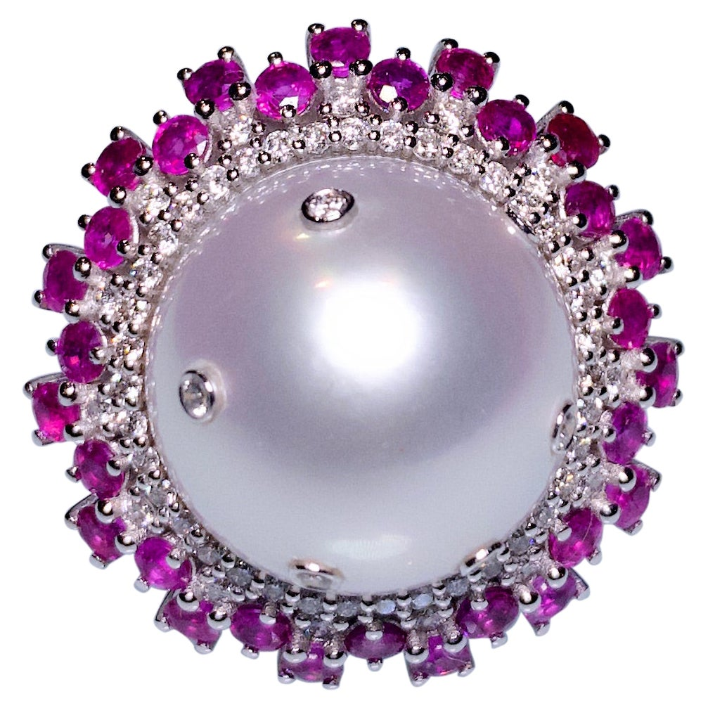 White South Sea Pearl, Ruby and Diamond Ring in 18k White Gold