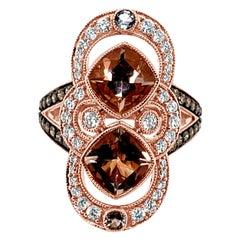 LeVian Ring Morganite Aquamarine White Diamond Chocolate Diamonds 14K Rose Gold