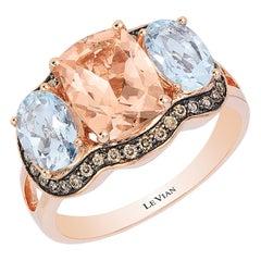 LeVian 14K Rose Gold Morganite Aquamarine Round Chocolate Brown Diamond Ring