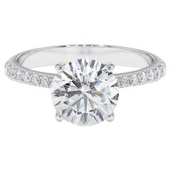 2.21 Carat GIA Certified Diamond Solitaire Engagement Ring in 18K White Gold