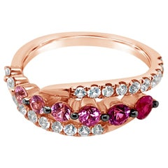 LeVian Ombre Ring Strawberry Ombré White Sapphire 14K Strawberry Gold