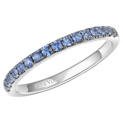 LeVian 14K White Gold Blue Sapphire Gemstone Classic Beautiful Cocktail Ring