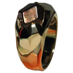Men's Fire Garnet Gold Ring Faceted Hickory Brown Natural Japanese Stone Unisex
