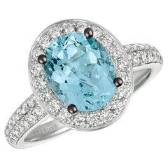 LeVian 14K White Gold Aquamarine Round Blue Diamond Pretty Fancy Cocktail Ring