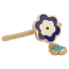 14K Gold Daisy Enamel Ring with Turquoise Pendant