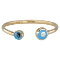 14K Gold Blue Evil Eye with Enamel Dainty Cuff Ring