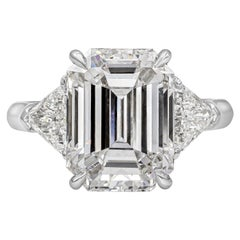 GIA Certified 5.46 Carat Emerald Cut Diamond Three-Stone Engagement Ring