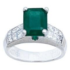 Natural 3 Carat Emerald Cut Emerald & 1 Carat Diamond Ring Platinum