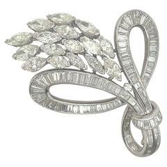 Platinum Baguette & Marquise Diamond Brooch