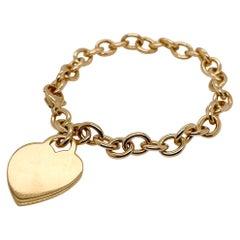 Tiffany & Co. 18 Karat Gold Dog Chain Link Bracelet & Heart Charm