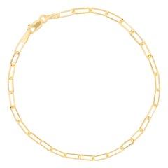 Mini Paperclip Link Bracelet Chain 1.4 Grams 14k Italian Yellow Gold Dainty