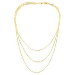 Multi Strand Triple Layer Herringbone Snake Silk Necklace 9.5 Grams 14K Gold