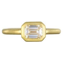 Faye Kim 18k Gold Emerald Cut Diamond Ring