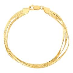 Multi Strand Triple Layer Herringbone Bracelet 4.2 Grams 14k Italian Yellow Gold