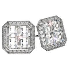 18k Gold Asscher Shaped Diamond Stud Earrings