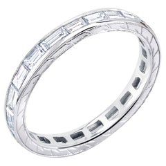 Platinum Baguette Diamond Engraved Eternity Band Two and Half Millimeter Wide