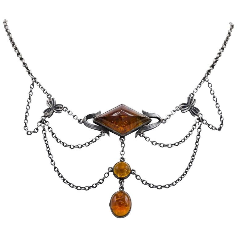 Citrine Oxidized Silver Draped Arts & Crafts Necklace