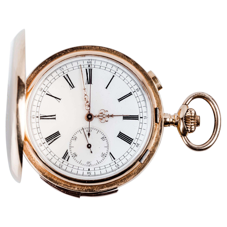 18k Rose Gold Hunter-Case Swiss Pocket Watch Angelus