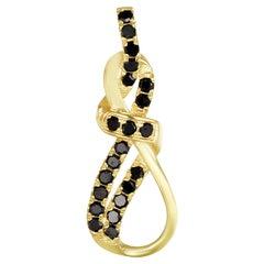 18K Yellow Gold Black Diamond Designer Pendant