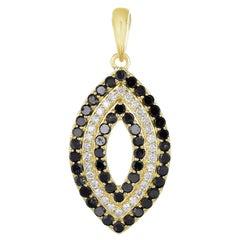18K Yellow Gold White & Black Diamond Eye Pendant