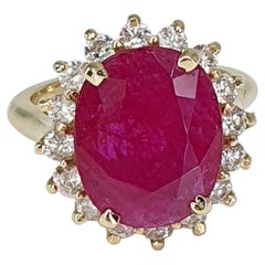 GIA Certified 5.13 Carat Ruby Diamond Yellow Gold Ring