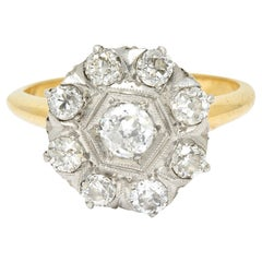 1920's Art Deco 0.80 Carat Diamond Platinum-Topped 14 Karat Gold Cluster Ring
